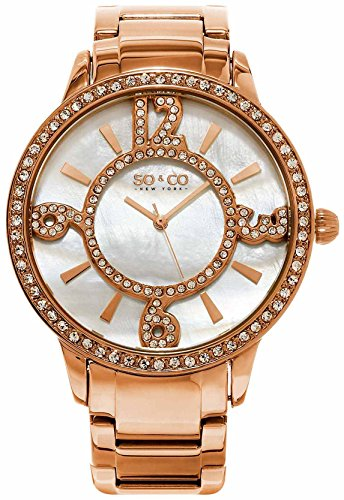 Women's Quartz Crystal Filled Numerals and Mother of Pearl Watch, Rose Tone Case on Rose Tone Brushed and Polished Link Bracelet, Mother of Pearl Dial, Crystal Filled Bezel, with Rose Tone and Crystal Accents