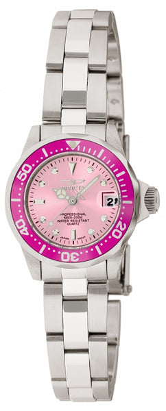 Invicta Women's 11437 Pro Diver Quartz 3 Hand Pink Dial Watch