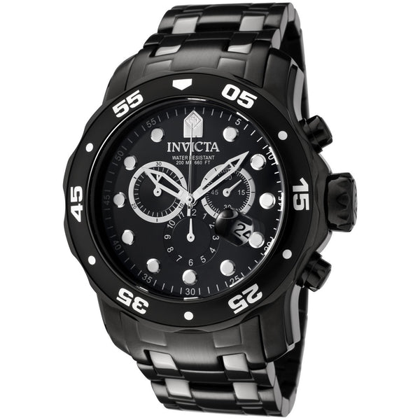 Invicta Men's 0076 Pro Diver Quartz Chronograph Black Dial Watch