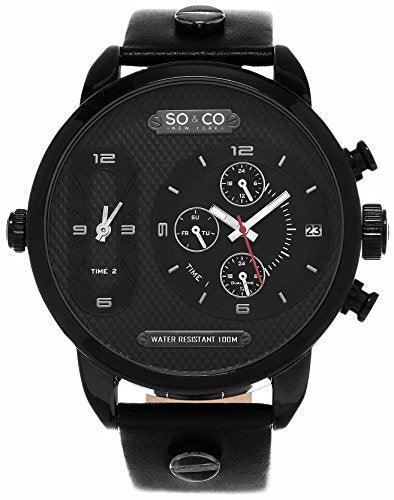 Men's Triple Time Quartz Watch, Black PVD Case on Black Genuine Leather Strap with Black PVD Metal Inserts, Black Dial with Triple TIme, Day of Week, and 24- Hour Subdials, with Silver Tone, White, and Red Accents