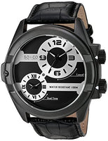 SO&CO New York Men's 'Madison' Quartz Metal and Leather Dress Watch, Color:Black