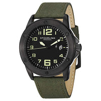 Mens Swiss Quartz, Black IP Case with Green Canvas Strap and Gray Dial