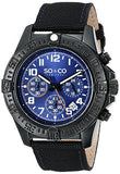SO&CO New York Men's 5016.3 Yacht Club Quartz Chronograph Date Blue Dial Nylon-Covered Leather Strap Watch