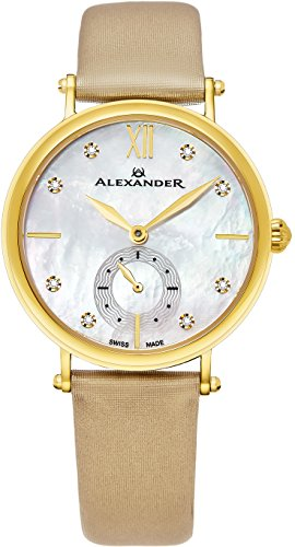 Alexander Monarch Roxana White Mother of Pearl DIAMOND Large Face Stainless Steel Plated Yellow Gold Watch For Women - Swiss Quartz Brown Satin Leather Band Elegant Ladies Dress Watch AD201-02