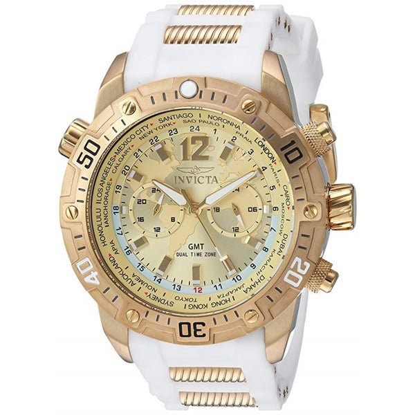 Invicta Men's 24581 Aviator Quartz Multifunction Gold Dial Watch