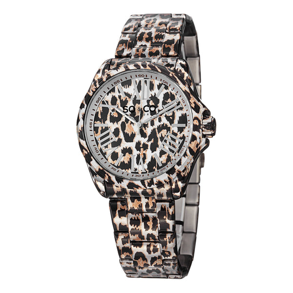 SO&CO New York Women's 5008.1 SoHo Quartz Animal-Print Stainless Steel Watch with Link Bracelet