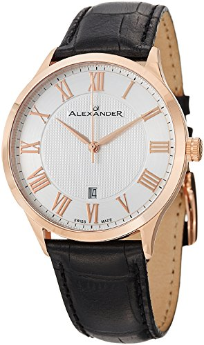 Alexander A103-04 Statesman Triumph Men's Rose Gold Plated Swiss Leather Watch