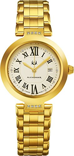Alexander Monarch Niki Date DIAMOND Silver Large Face Watch For Women - Swiss Quartz Yellow Gold Plated Elegant Ladies Fashion Designer Dress Watch AD203B-03