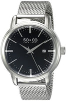 SO&CO New York Men's 5207.2 Madison Quartz Black Dial Date Stainless Steel Mesh Bracelet Watch