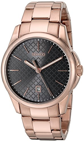SO&CO New York Men's 5095.5 Madison Quartz Black Square Design Dial Date Luminous Hands 16K Rose Tone Stainless Steel Link Bracelet Watch