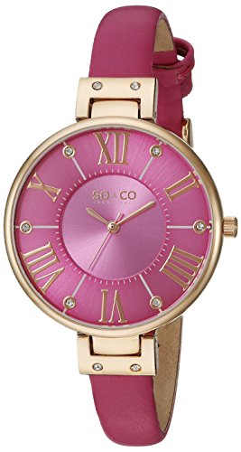 SO&CO New York Women's 5091.5 SoHo Gold-Tone Case Watch with Slim Pink Leather Band