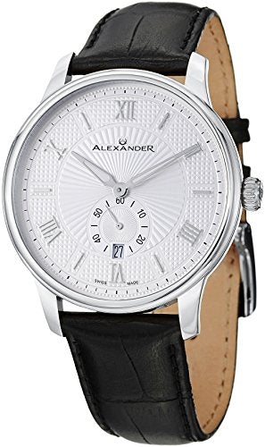 Alexander A102-01 Statesman Regalia Men's Silver Dial Analog Swiss Leather Watch