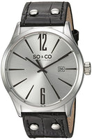 SO&CO New York Men's 5098.1 Madison Quartz Date Black Genuine Leather Strap Watch