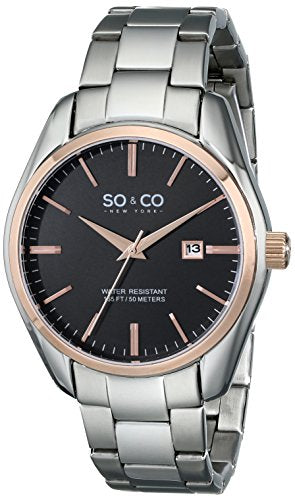 SO&CO New York Men's 5101.5 Madison Date Black Dial Stainless Steel Link Bracelet Watch