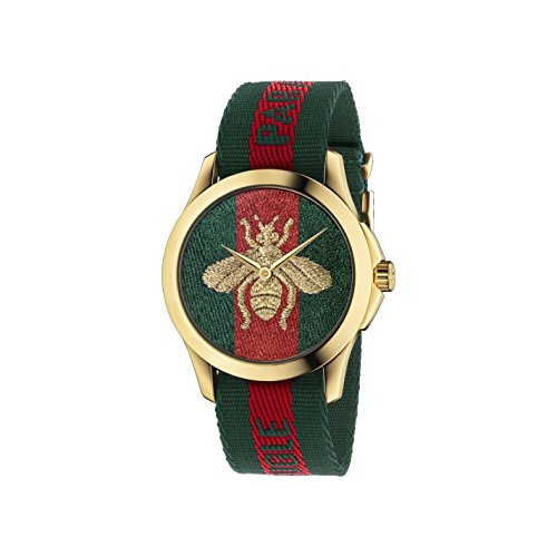 Gucci Quartz Gold and Nylon Casual Watch, Color(Model: YA126487)
