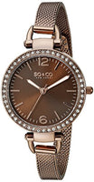 SO&CO New York Women's 5061M.4 SoHo Quartz Crystal Accent Luminous Hands Brown Mesh Bracelet Watch