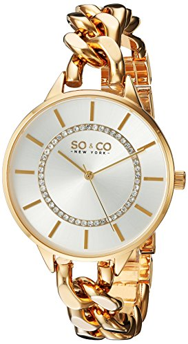 SO&CO New York Women's 5225.3 SoHo Quartz Silver Crystal Accented Dial Stainless Steel 23K Gold-Tone Chain-Link Bracelet Watch