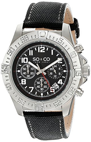SO&CO New York Men's 5016.1 Yacht Timer Quartz Chronograph Date Black Leather Strap Watch