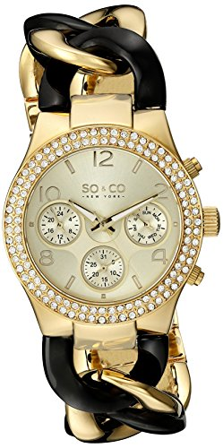 SO&CO New York Women's 5013A.4 SoHo Quartz Crystal Accent Multifunction Luminous Hands Stainless Steel Two-Tone Chain Link Bracelet Watch