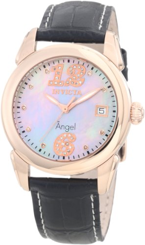 Invicta Women's 0776 Angel Diamond Accented Platinum Mother-Of-Pearl Dial Bla...