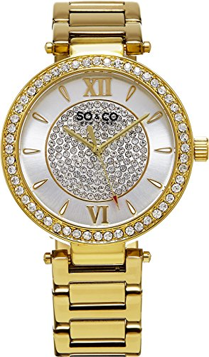 Women Crystal Filled Quartz Watch, Gold Tone Case on Gold Tone Link Bracelet, Ivory Outer Dial with Crystal Filled Inner Dial, Gold Tone Accents
