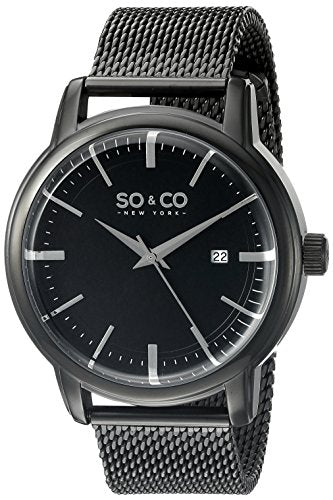SO&CO New York Men's 5207.4 Madison Quartz Date Black Stainless Steel Mesh Bracelet Watch