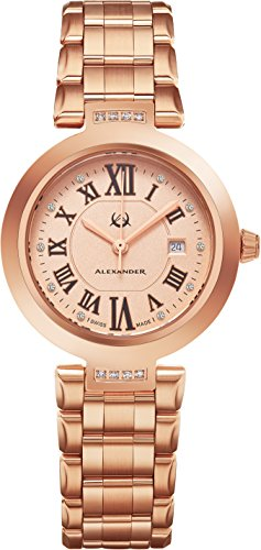 Alexander Monarch Niki Date DIAMOND Silver Large Face Watch For Women - Swiss Quartz Rose Gold Plated Elegant Ladies Fashion Designer Dress Watch AD203B-05