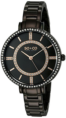 SO&CO New York Women's 5066.5 SoHo Quartz Crystal Accent Black Stainless Steel Watch