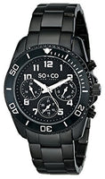 SO&CO New York Men's 5029.3 Yacht Club Black Unidirectional Bezel GMT Day and Date Stainless Steel Link Bracelet Watch