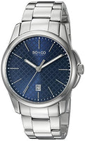 SO&CO New York Men's 5095.3 Madison Quartz Blue Square Design Dial Date Luminous Hands Stainless Steel Link Bracelet Watch
