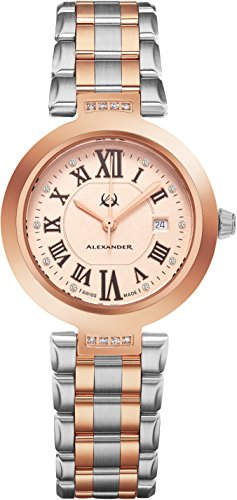 Alexander Monarch Niki Date DIAMOND Silver Large Face Watch For Women - Swiss Quartz Two Tone Band Elegant Ladies Fashion Designer Dress Watch AD203B-04