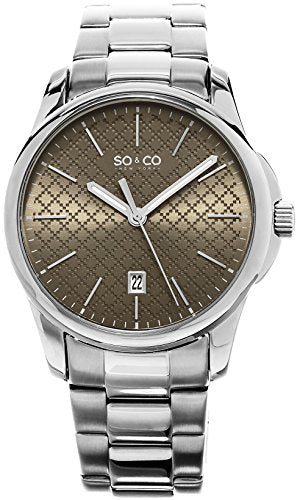 SO&CO New York Men's 5095.2 Madison Quartz Tan Square Design Dial Date Luminous Hands Stainless Steel Link Bracelet Watch