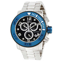 Invicta 12534 Mens Sea Hunter Black Dial Blue Bezel Stainless Steel Chrono Watch