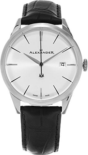 Alexander Heroic Sophisticate Wrist Watch For Men - Black Leather Stainless Steel Analog Swiss Watch - Silver White Dial Date Mens Designer Watch A911-02