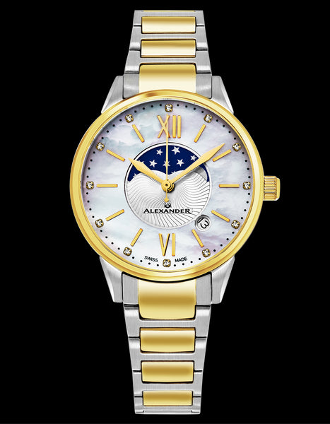 Alexander Monarch Vassilis Moon Phase Date 35 MM Mother of Pearl DIAMOND Face Stainless Steel Yellow Gold Watch For Women - Swiss Quartz Elegant Two Tone Ladies Fashion Designer Dress Watch AD204B-04