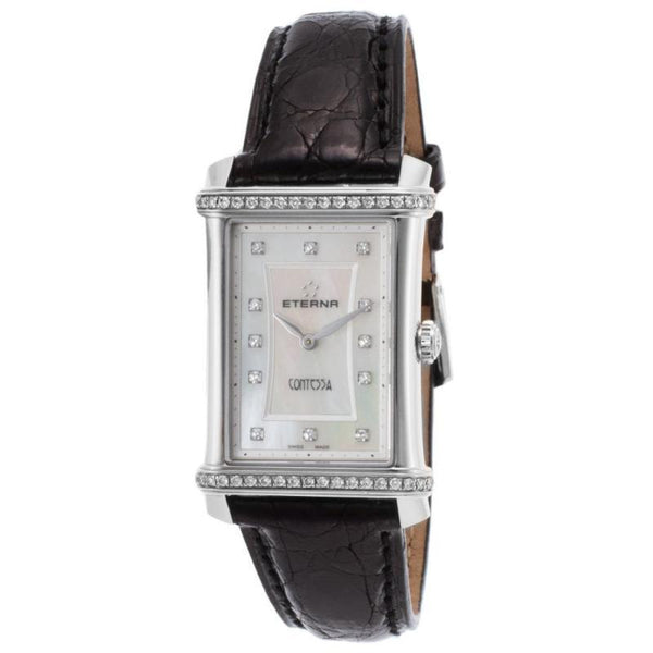 Eterna 2410-48-67-1199 Women's Diamond Contessa Black Genuine Alligator White Mop Dial Watch