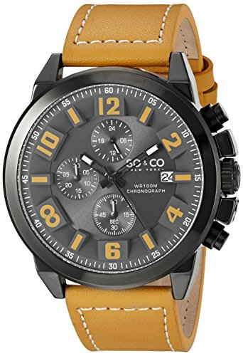 SO&CO New York Men's 5212.3 Monticello Quartz Date Chronograph Luminous Hands Brown Leather Strap Watch