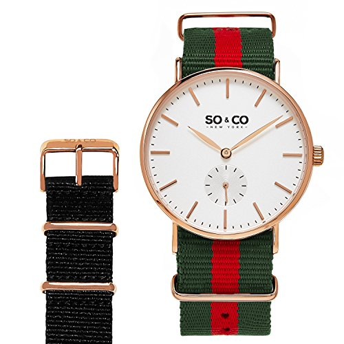 SO&CO New York Men's 'Madison' Quartz Stainless Steel and Canvas Casual Watch, Color:Green (Model: 5265.SET.3)