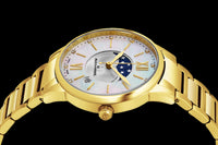 Alexander Monarch Vassilis Moon Phase Date 35 MM White Mother of Pearl DIAMOND Face Stainless Steel Yellow Gold Watch For Women - Swiss Quartz Elegant Ladies Fashion Designer Dress Watch AD204B-05