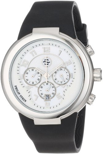Philip Stein Unisex 32-AW-RBB Active White and Black Chronograph Rubber Strap...