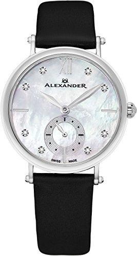 Alexander Monarch Roxana Stainless Steel White Mother of Pearl DIAMOND Large Face Watch For Women - Swiss Quartz Black Satin Leather Band Elegant Ladies Dress Watch AD201-01