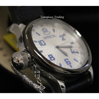 NEW Invicta 10471 Men's Russian Diver Silver and Blue Dial Black Leather Watch