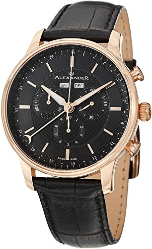 Alexander A101-04 Statesman Chieftain Mens Chronograph Black Leather Swiss Watch