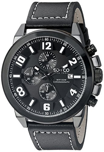 SO&CO New York Men's 5212.4 Monticello Quartz Black Case Chronograph Date Grey Genuine Leather Strap Watch