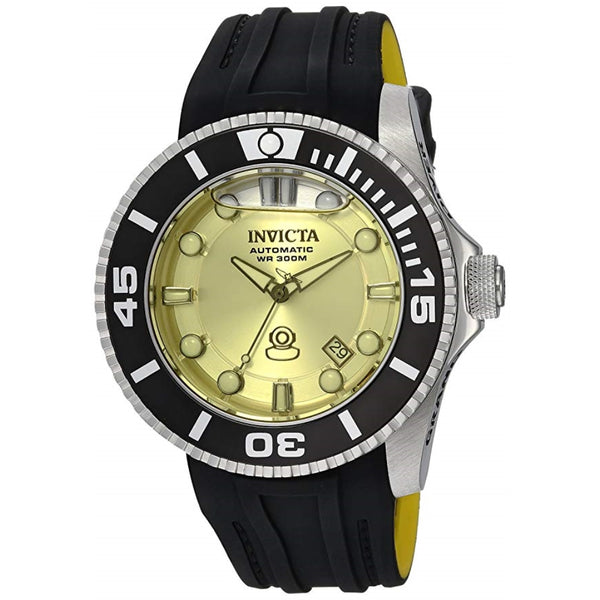 Invicta Men's 'Pro Diver' Automatic Stainless Steel and Silicone Casual Watch, Color:Black (Model: 22990)
