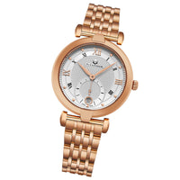 Alexander Monarch Olympias Date Silver Large Face Stainless Steel Plated Rose Gold Watch For Women - Swiss Quartz Elegant Ladies Fashion Dress Watch A202B-04