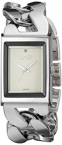 SO&CO New York Women's 'SoHo' Quartz Metal and Stainless Steel Dress Watch, Color:Silver-Toned (Model: 5094.1)