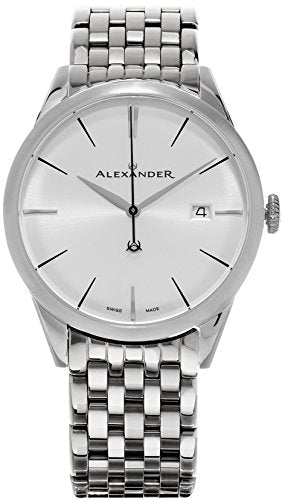 Alexander Heroic Sophisticate Wrist Watch For Men - Silver White Dial Date Analog Swiss Watch - Stainless Steel Bracelet Watch - Mens Designer Watch A911B-04