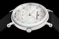 Alexander Monarch Roxana Stainless Steel White Mother of Pearl Large Face Watch For Women - Swiss Quartz Black Satin Leather Band Elegant Ladies Dress Watch A201-01