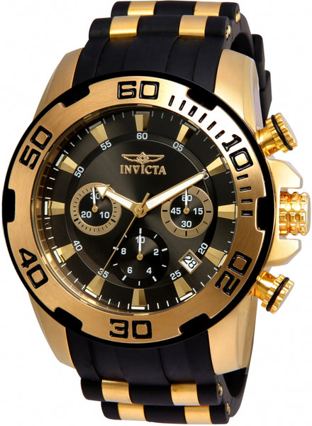 Invicta Men's Pro Diver Gold-Tone Polyurethane Band Swiss Quartz  Watch 22344